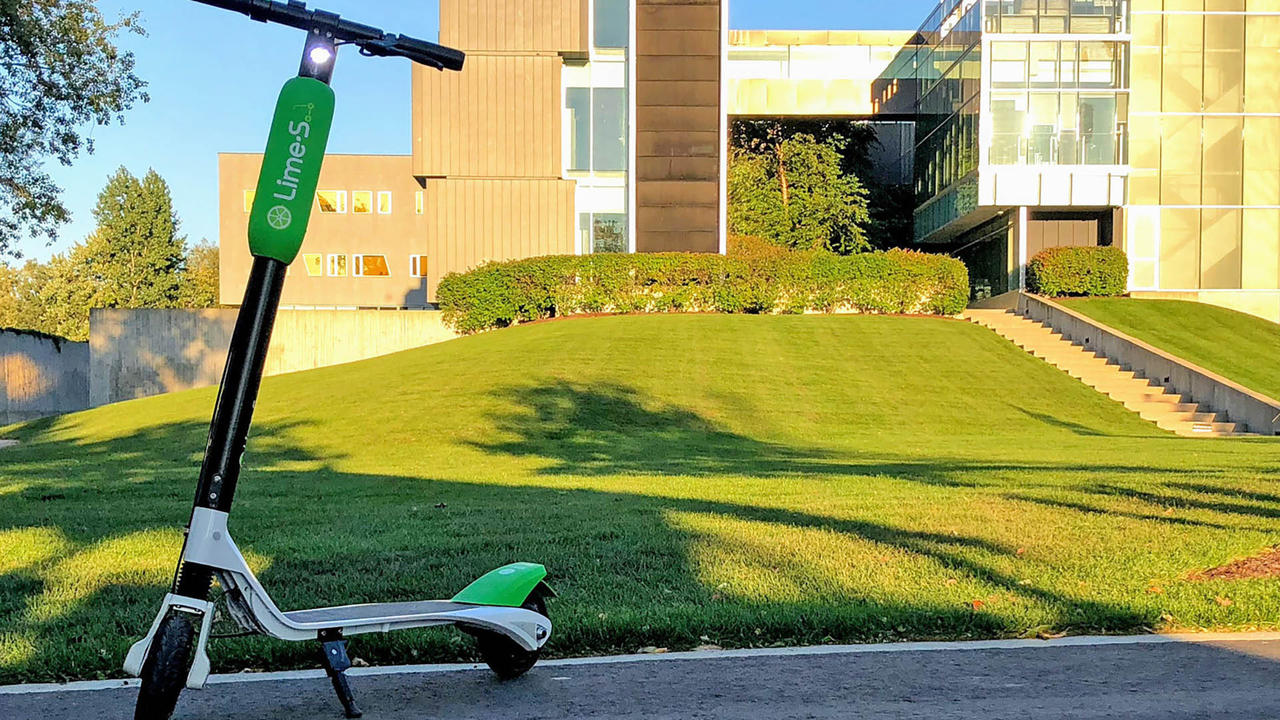 A lime scooter in front of the perimeter institute building