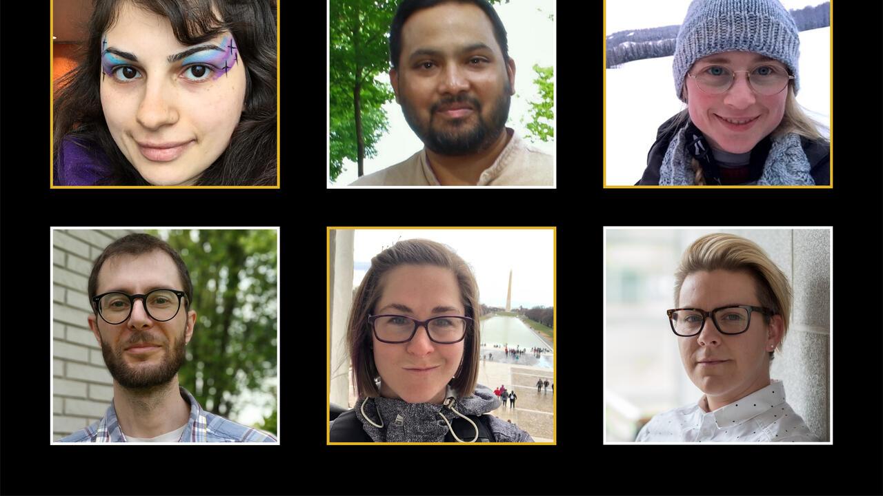 Portraits of six graduating PhD students