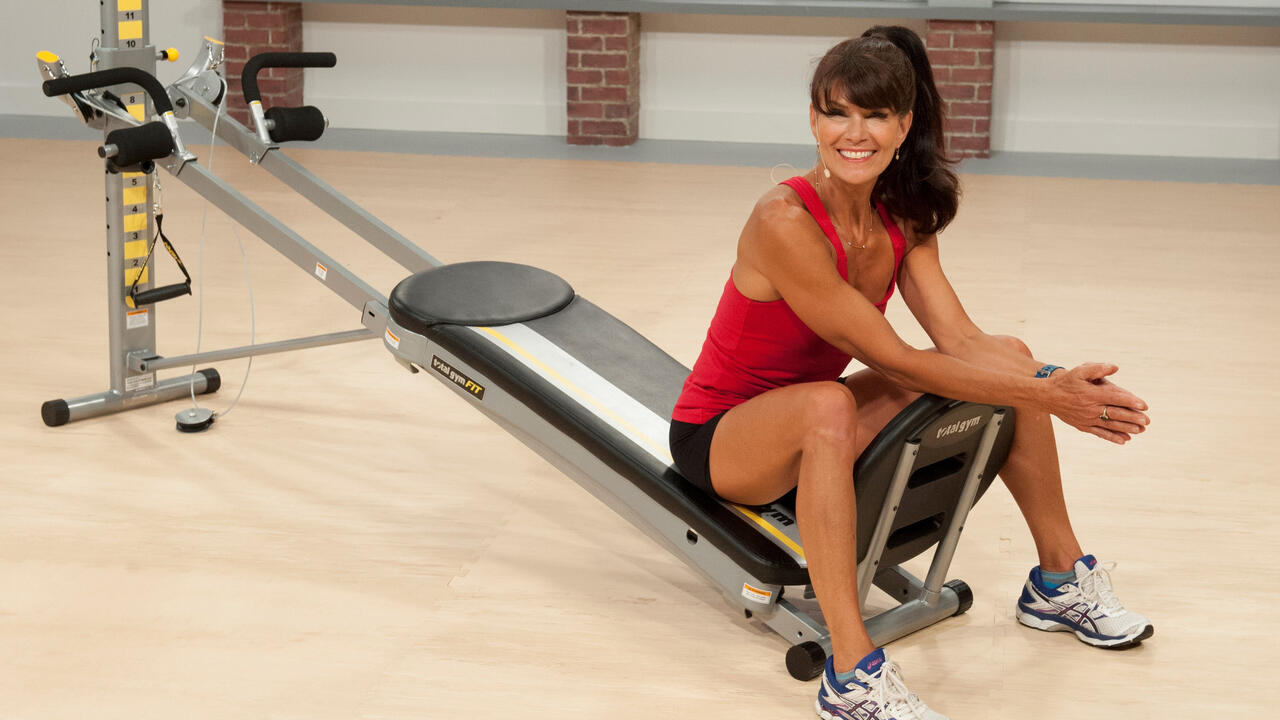 Rosalie Brown with workout equipment