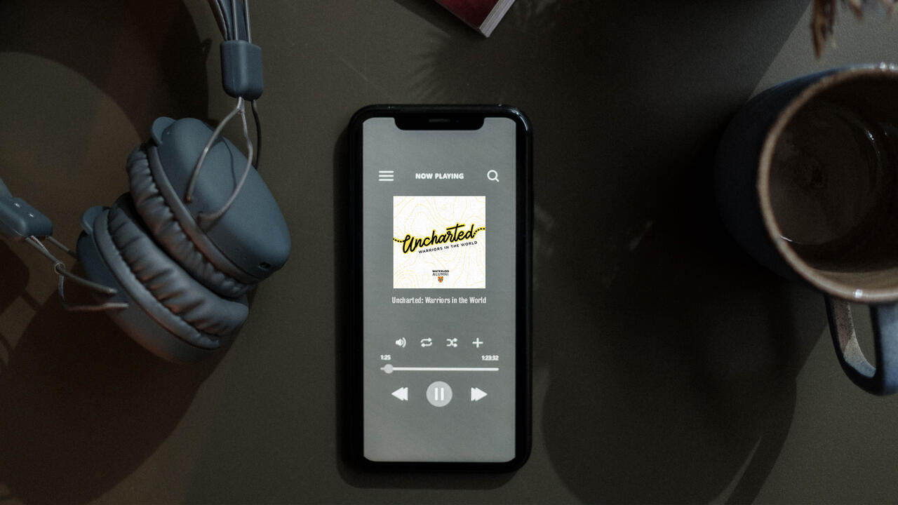 Phone with podcast playing