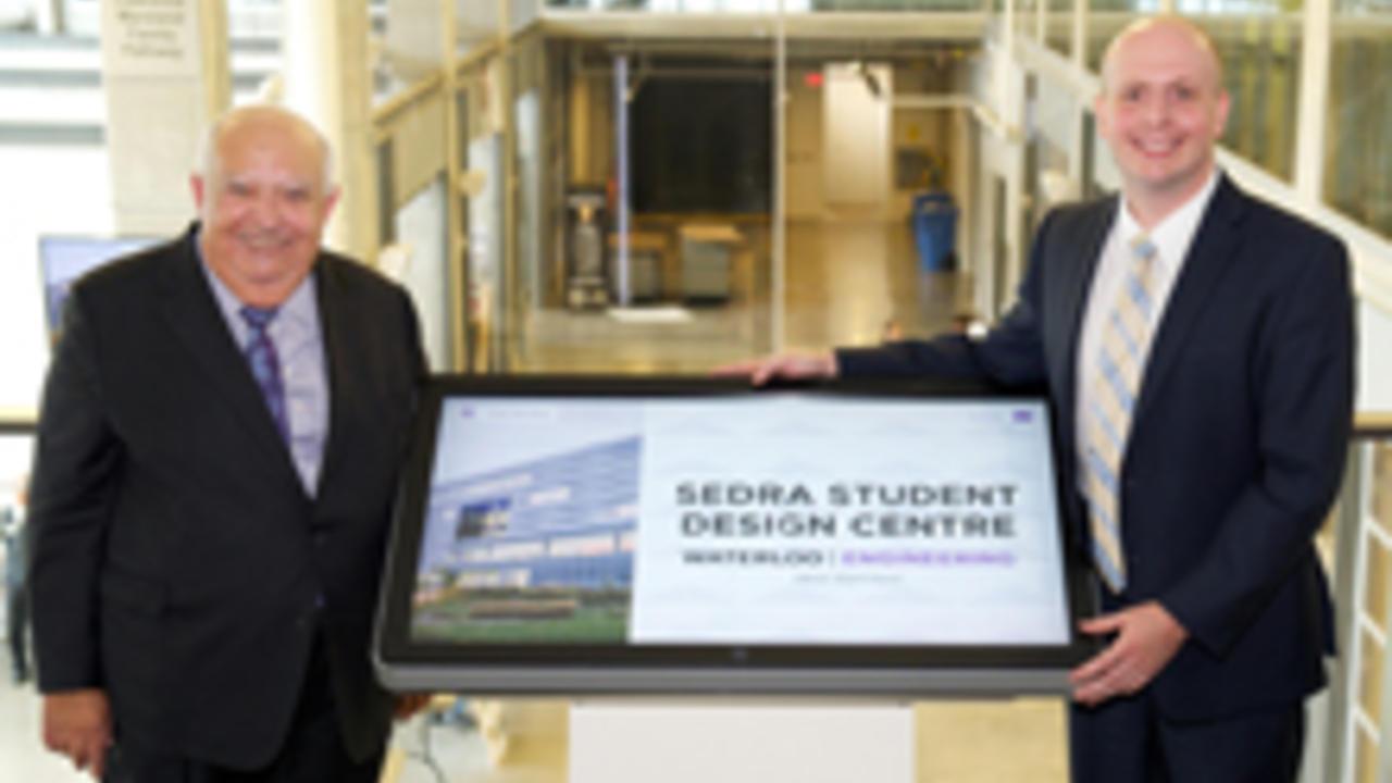 former dean of engineering Adel Sedra and engineering alumnus Matt Stevens