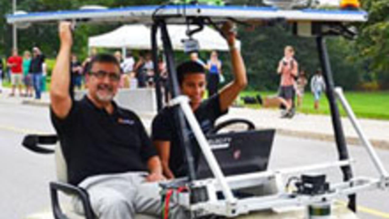 President Hamdullahpur rides in the self-driving car