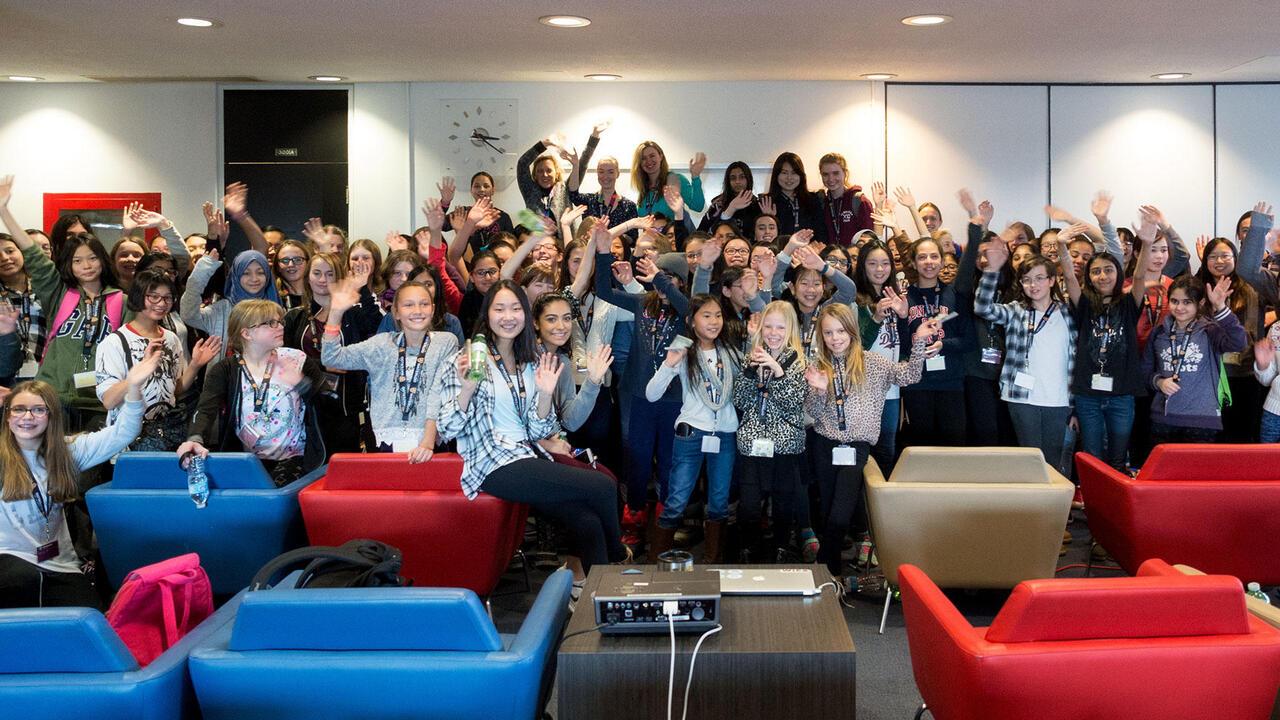 Technovation participants in a seminar room at University of Waterloo