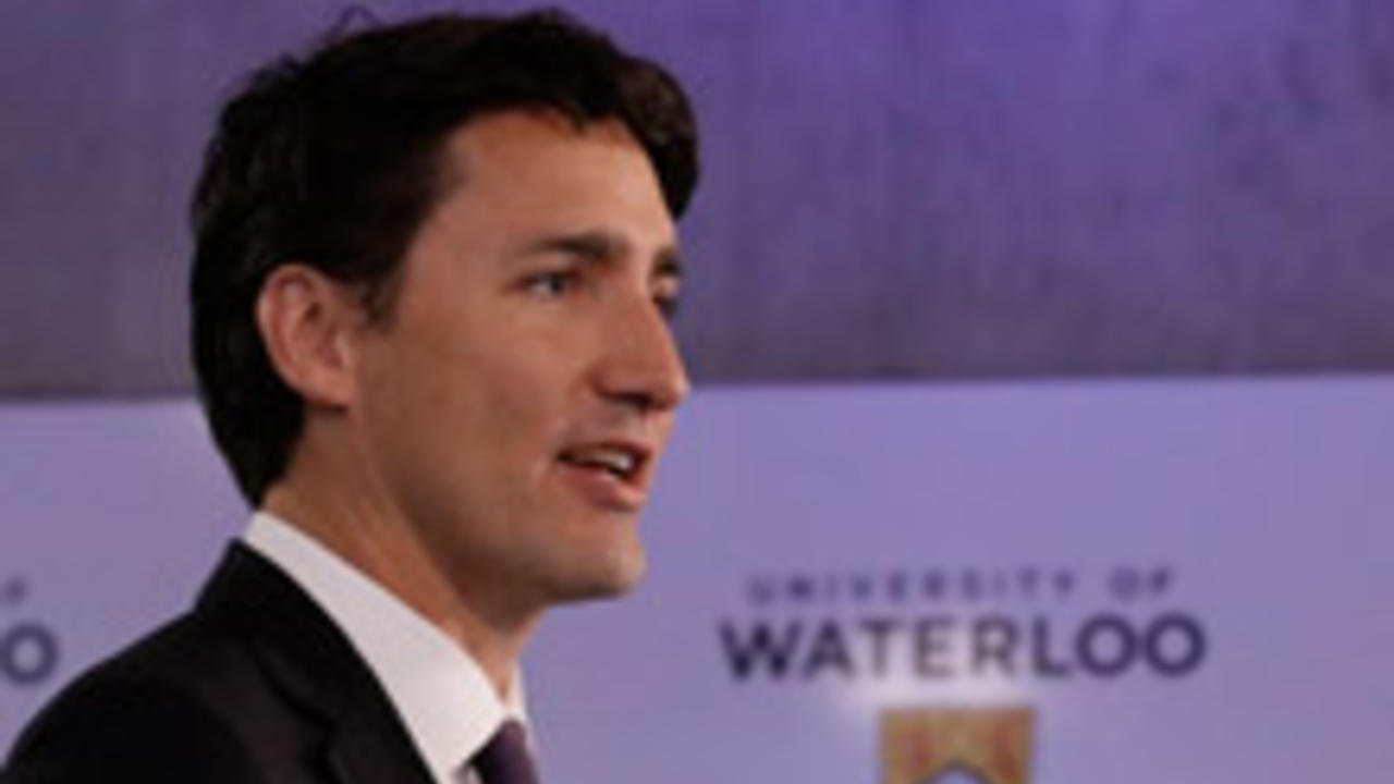 Justin Trudeau speaking at a visit to the university of Waterloo