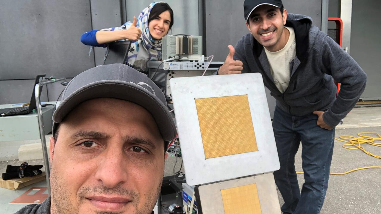 Researchers (left to right) Wael M. Abdel-Wahab, Naimeh Ghafarian and Ehsan Haj Mirza Alian during testing of new intelligent an