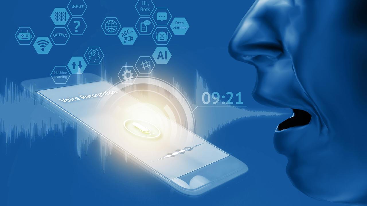 CGI face talking into a phone