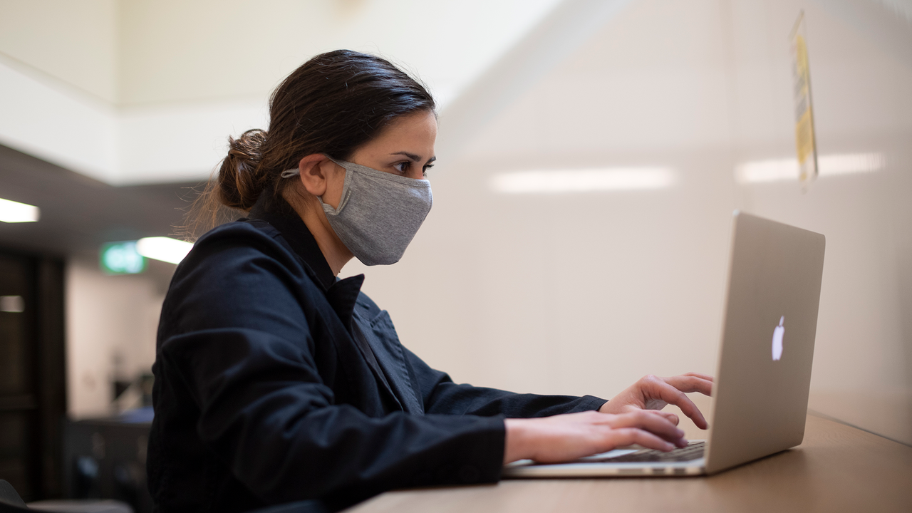 Woman working at her laptop