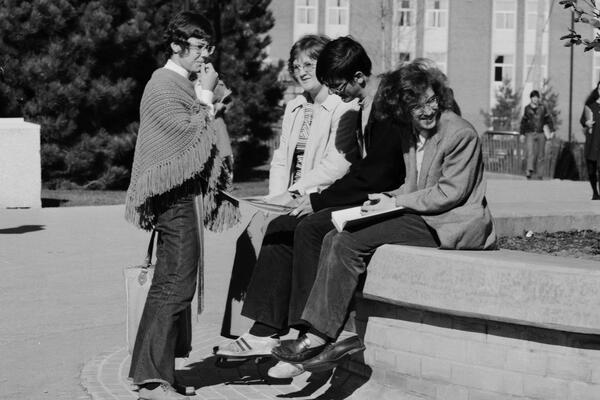 Students sit in the Arts quad, circa 1971
