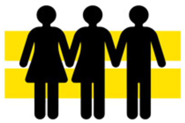 New symbol which includes traditional male and female symbols with a third symbol that is half male, half female