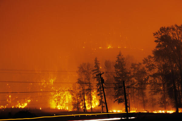 Forest fire at night in British Columbia, Canada