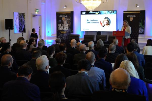 Janice Charette speaking at the Waterloo Innovation Summit in London