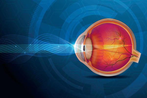 Graphic of light passing through an eye