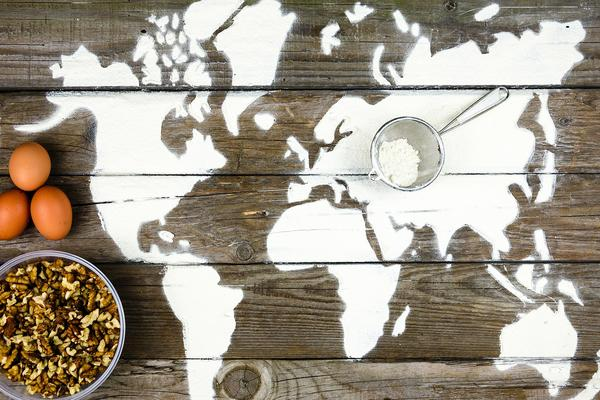 Map of the world made with flour