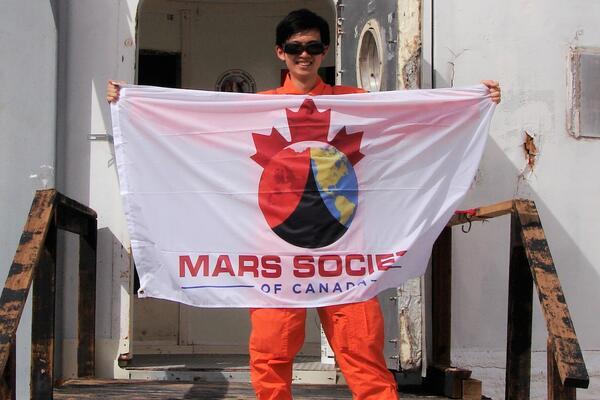 Jin Sing Sia at the Mars Desert Research Station in Utah.