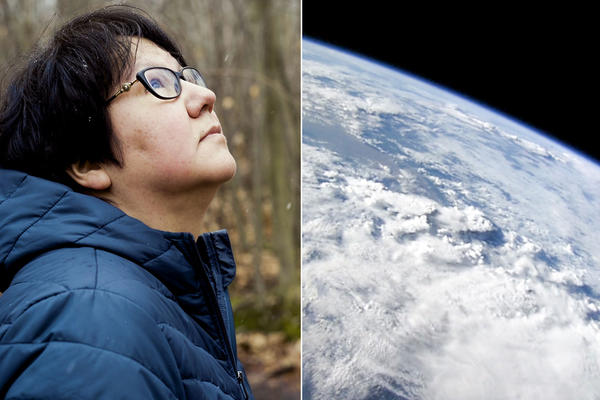 Two images photoshopped together of Melanie Goodchild and the earth from space