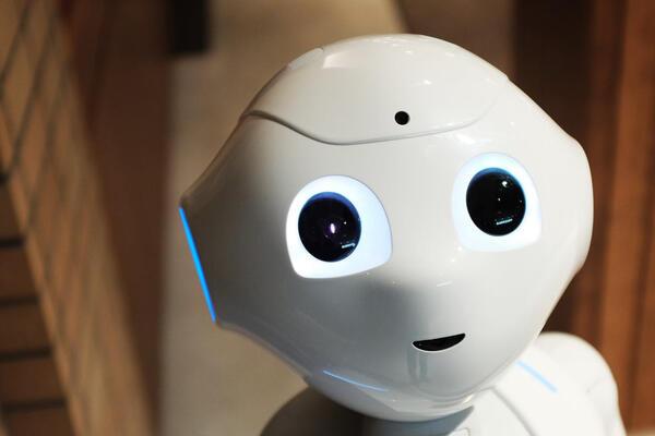Robot staring up at camera