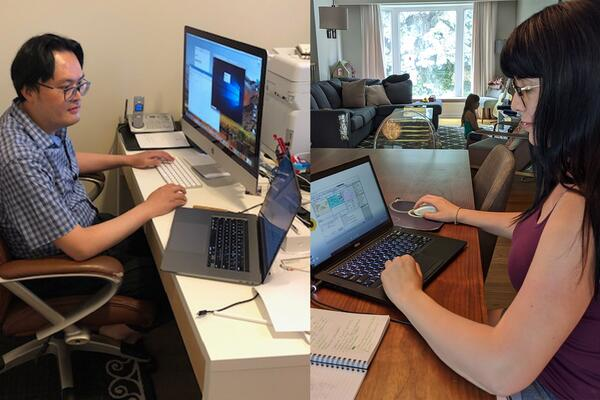 professors conducting online learning remotely from home