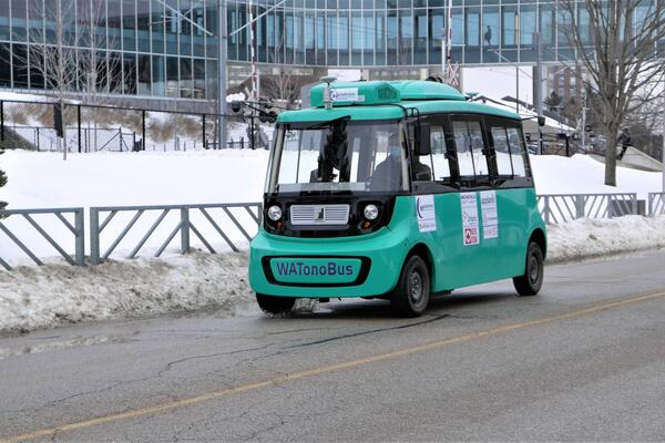 WATonoBus, a self-driving shuttle, during testing at the University of Waterloo.