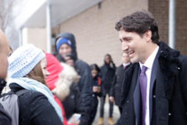 Justin Trudeau greets students outside the Science Teaching Complex