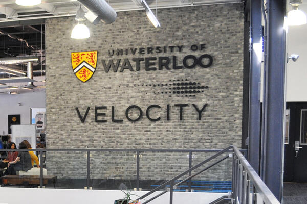 """sign that reads """"University of Waterloo Velocity"""""""