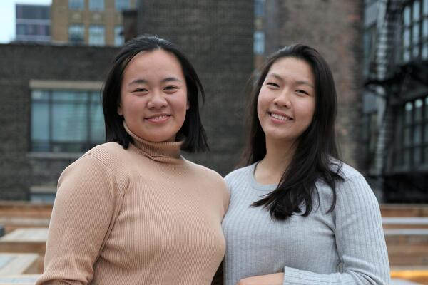 Queenie Wu (left) and Leslie Xin are friends and third-yeard systems design engineering students.