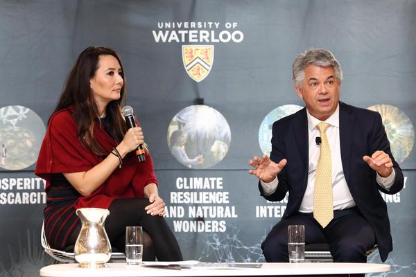 Moderator Ziya Tong and Waterloo faculty member Blair Feltmate