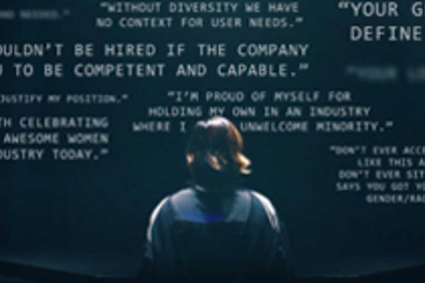 Sillhouette of woman in convocation gown surrounded by encouraging statements about women in computing