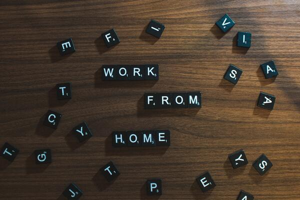 "Image of letter magnets spelling ""work from home"""