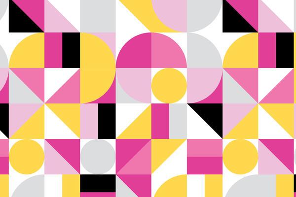 pink, yellow and grey geometric pattern