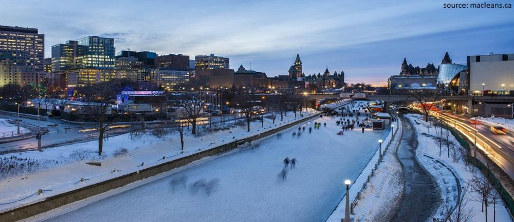 People ice skating on Rideau canal, Ottawa city