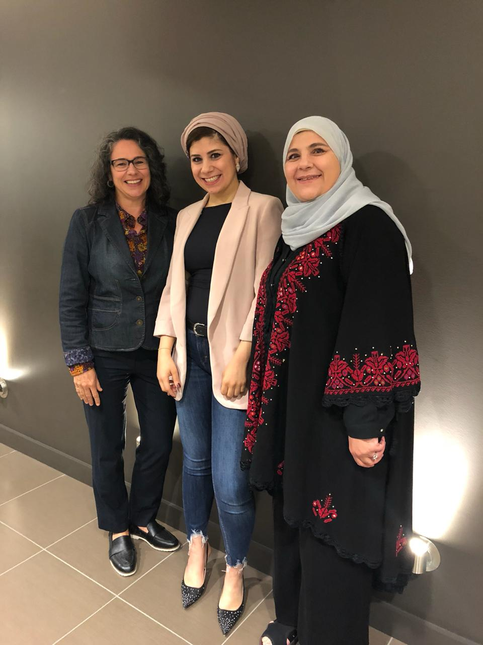Sarah Awwad poses with mother and supervisor