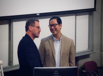 Dr. Alan Ulsifer speaks with Dr. Stan Woo, Director of the School of Optometry & Vision Science