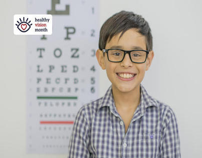 Healthy Vision Month logo and a boy wearing glasses