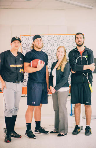 Kristine Dalton with members of the University of Waterloo varsity sports