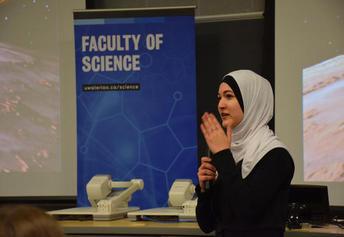 Graduate student Yara Mohair at a recent presentation