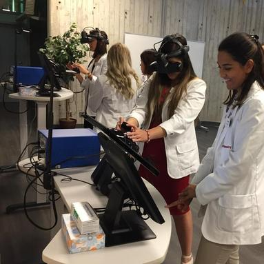 Optometry students using the new lab
