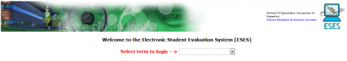 Student evaluation landing page screen shot