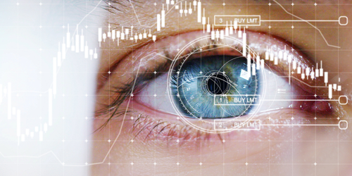 Close up of man's blue eye overlaid with images of a grid and data points,