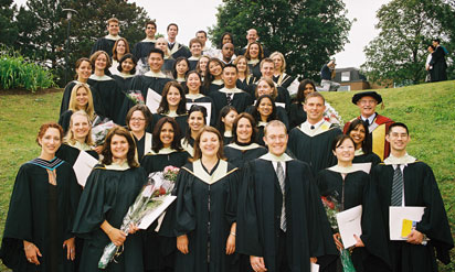 Graduating class of 2004 in gowns