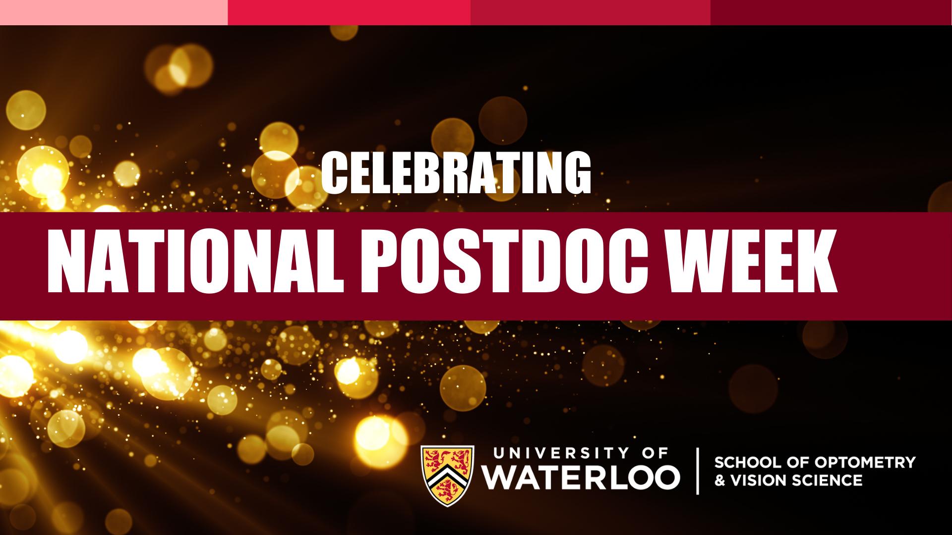 National Postdoc Week banner against a golden glitter background