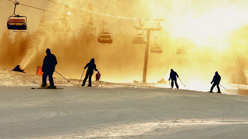 Glare from sun on ski slop