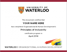 Image of inclusivity Certificate