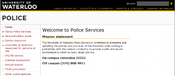 University of Waterloo Police Services homepage