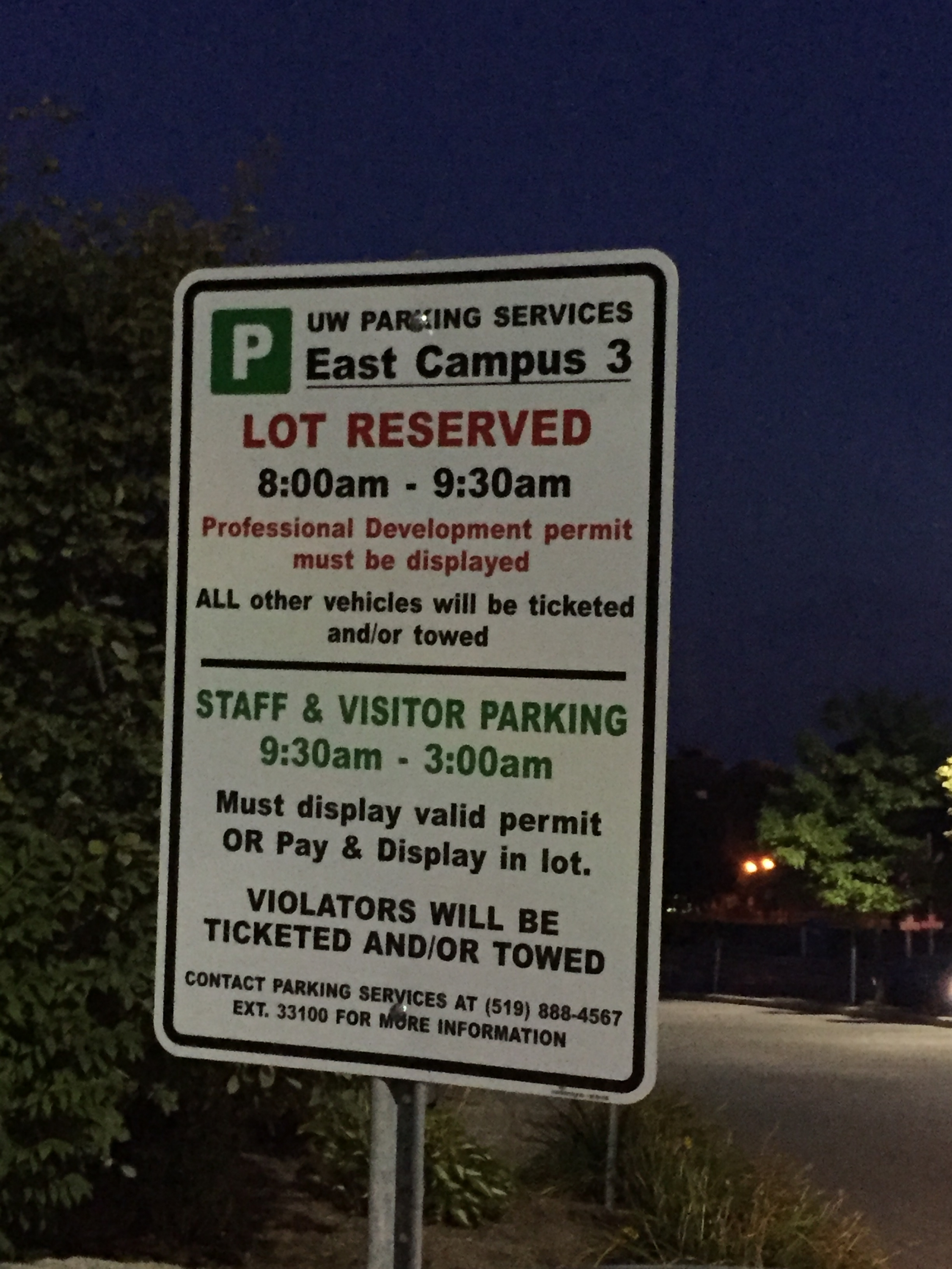 NEW PARKING SIGN