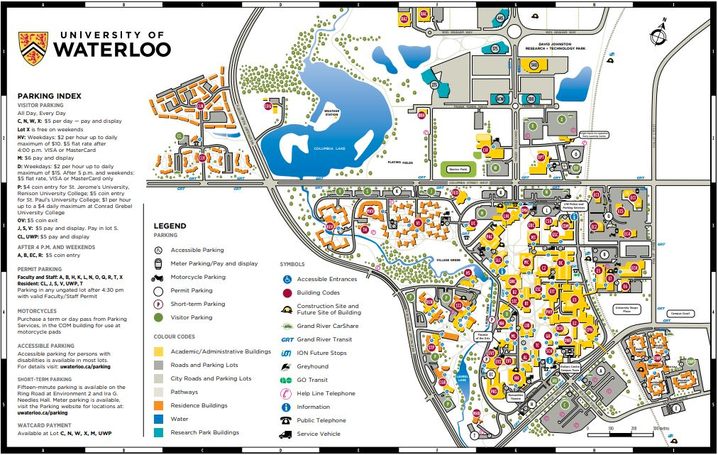 Waterloo University Map Campus Map | UW Parking Services | University of Waterloo