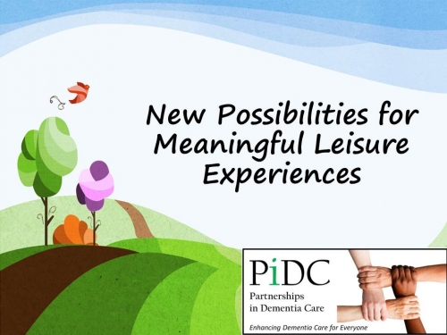 "PiDC Alliance Logo and Cartoon tree and landscape with the words ""New Possibilities for Meaninful Leisure Experiences"""
