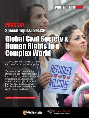 Poster for PACS 301 course. Features women holding signs. Text displays information about the course.