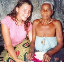 Maeghan with an elderly woman smiling for the camera.