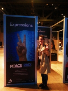 Jessica at the peace exhibition.