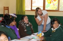 Emily teaching kids in Peru